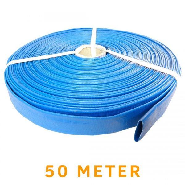 "Flachschlauch 1"" bis 2"" Zoll Flexibler PVC Feuerwehrschlauch - 50 meter blau"