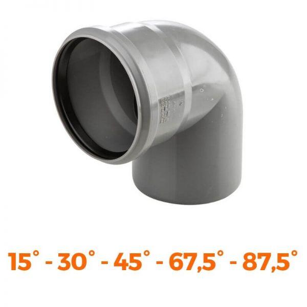 HT PP Bogen grau DN 50 - DN 110 Abwasser Formteil Winkelstück