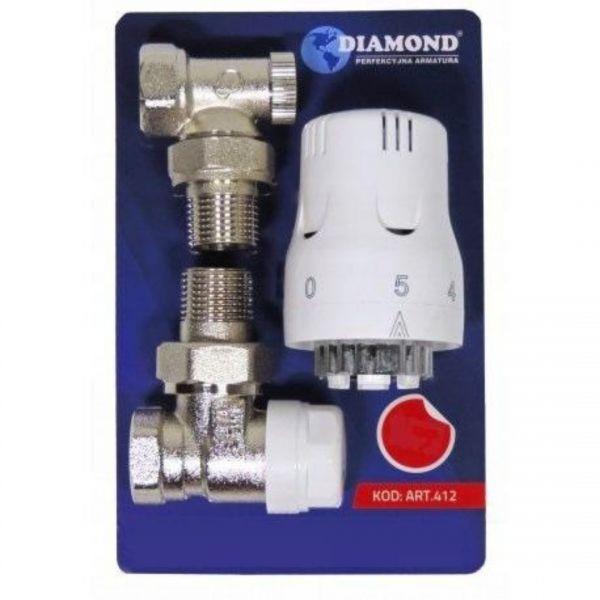 SET Thermostatkopf und Thermostat Ventil Eck und Rücklaufverschraubung 1/2 Zoll