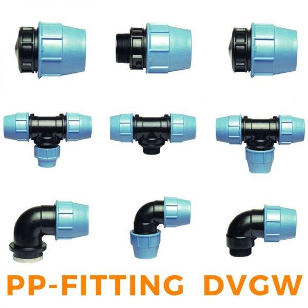 PP-Fitting Verschraubung PE-Rohr Trinkwasser DVGW Klemmverbinder