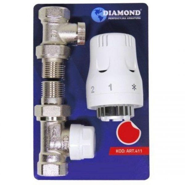 SET Thermostatkopf und Thermostat Ventil Durchgang und Rücklaufverschraubung 1/2 Zoll